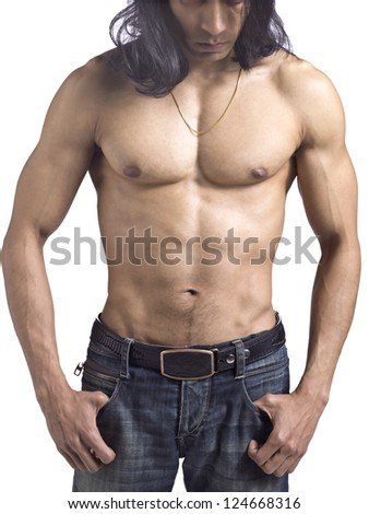 Cropped shot of a sexy muscular male over a white background