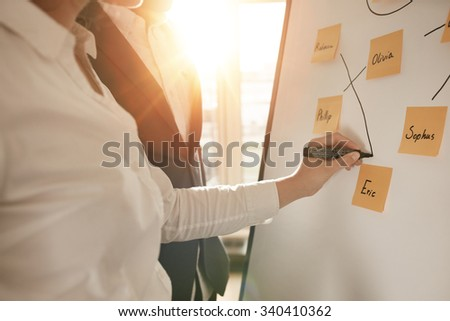 Cropped shot of business people making pairs of employees for making efficient sales team. Woman pairing sticky notes on whiteboard with marker pen. - stock photo