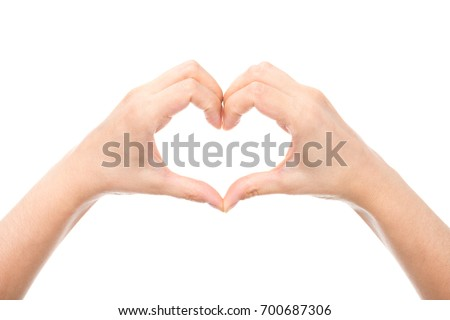 cropped shot of heart mage on hands isolated on white