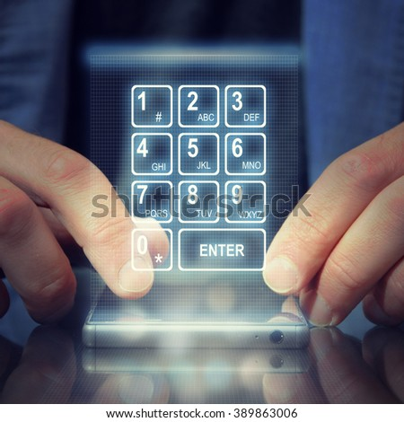 Cropped shot view of a man's hand keyboarding on touch smart phone - stock photo