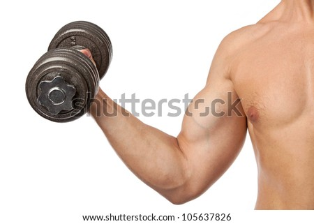 Cropped view of a muscular man lifting a dumbbell over white - stock photo