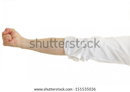 Cropped view of the extended arm of a belligerent man in shirtsleeves clenching his fist in anger and frustration isolated on white - stock photo