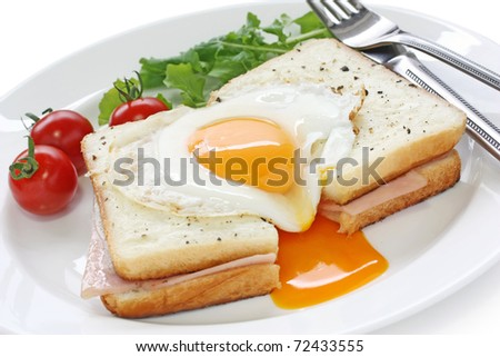 croque madame , french hot ham and cheese sandwich with fried egg - stock photo