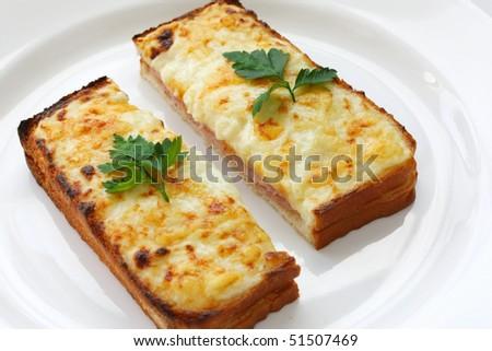 Croque monsieur,Ham and cheese sandwich - stock photo