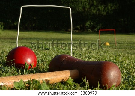 croquet at the park - stock photo