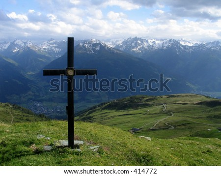 Cross against sky - stock photo