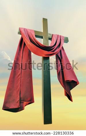 cross against the sky, closeup - stock photo