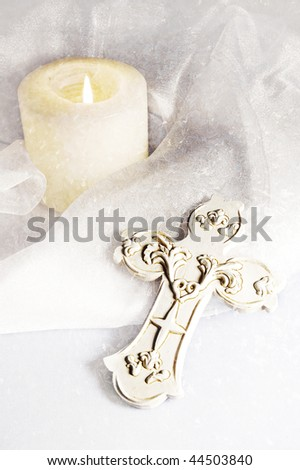 cross and candle - stock photo