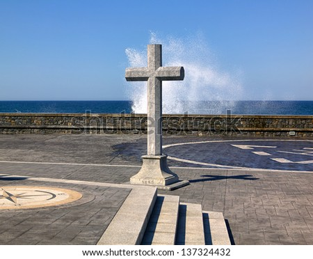 cross and compass rose in the Basque Country Lekeitio Tala