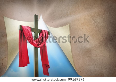 cross and courtain - stock photo