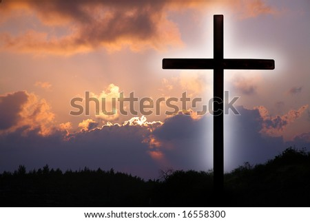Cross and sky. - stock photo
