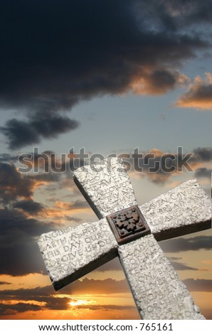 cross and sky - stock photo