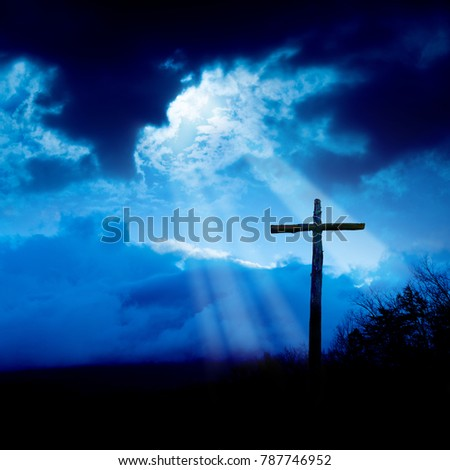 Cross and Storm and Light Beams