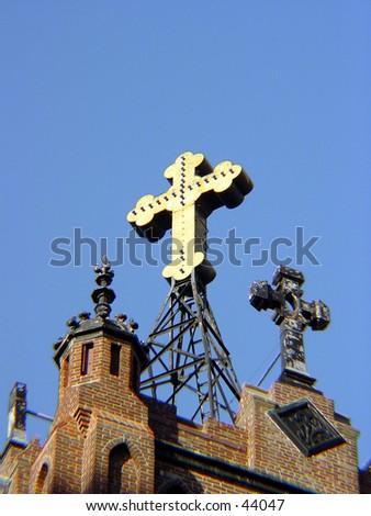 Cross at St.Mary's church in San Francisco - stock photo