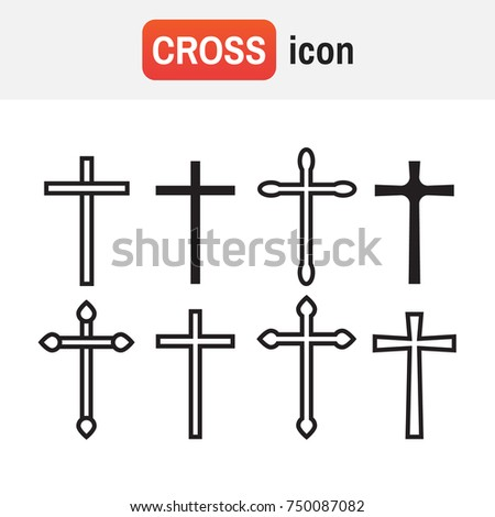 Cross christian. Christian cross icons. line black christian cross