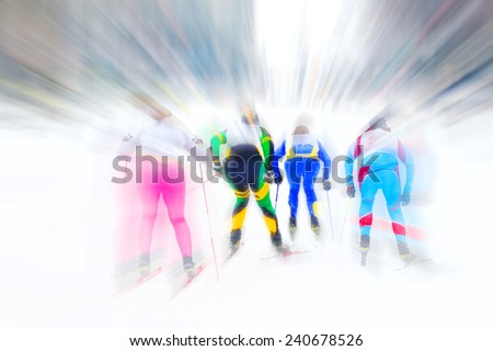 Cross country ski racers. Motion blur. - stock photo
