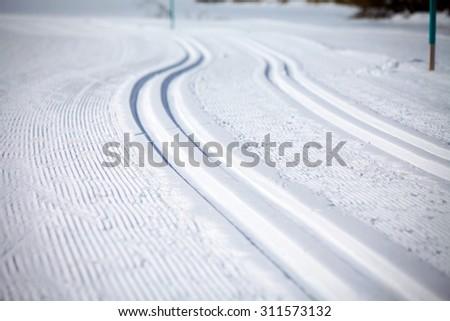 Cross Country Ski Tracks in Engadin, Switzerland - stock photo