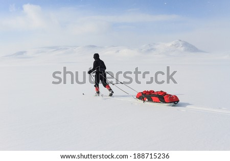 Cross country skier with pulka in the snow in Lapland (Kungsleden in Sweden). - stock photo