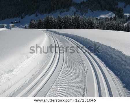 cross country skiing in Austria - stock photo