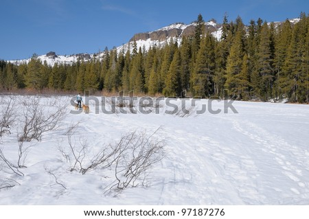 Cross country skiing in Castle Valley in Donner Summit area of the California Sierra Nevada mountains - stock photo
