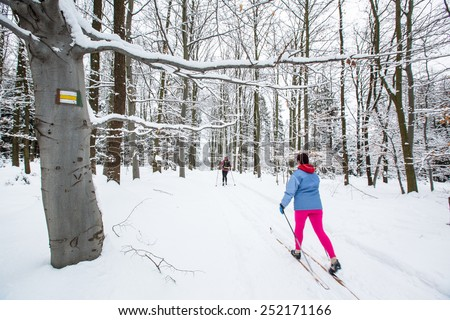 Cross-country skiing: two women cross-country skiing on a winter day (motion blurred image) - stock photo