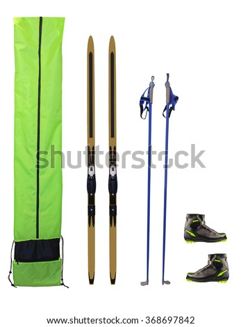 Cross-country skis, poles, boots and case isolated on white background - stock photo