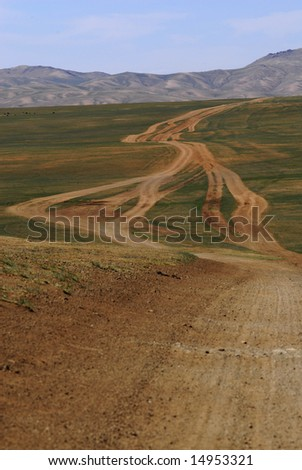 Cross-country travelling in Mongolia - stock photo