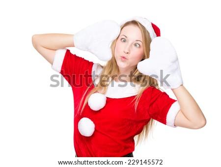 Cross eye and pout lip christmas girl - stock photo