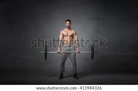 cross fitter weights balance, abstract background - stock photo
