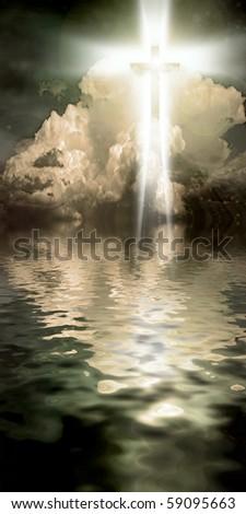 Cross Hangs in Sky over Water - stock photo