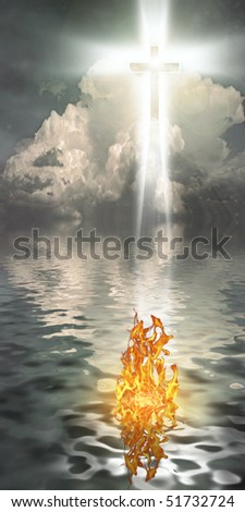 Cross Hangs in Sky over Water with Fire Burning on Waters Surface - stock photo