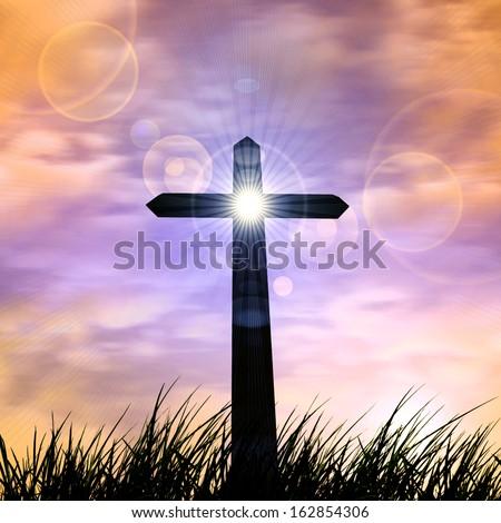 cross, in a grass, sunset,sunrise sky background  - stock photo