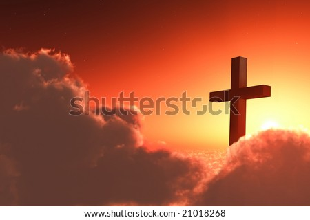 cross in clouds - stock photo