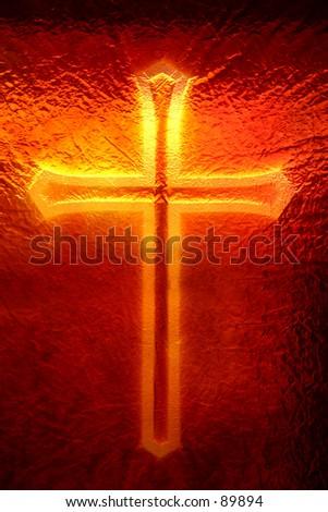 Cross in the window - stock photo
