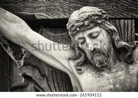 cross in winter - austria - stock photo