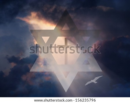 Cross inside Star of David in Sky - stock photo