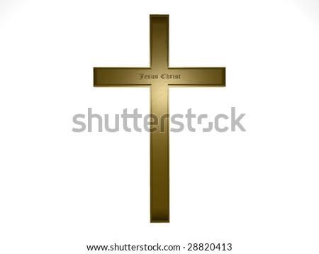 cross isolated on white - stock photo