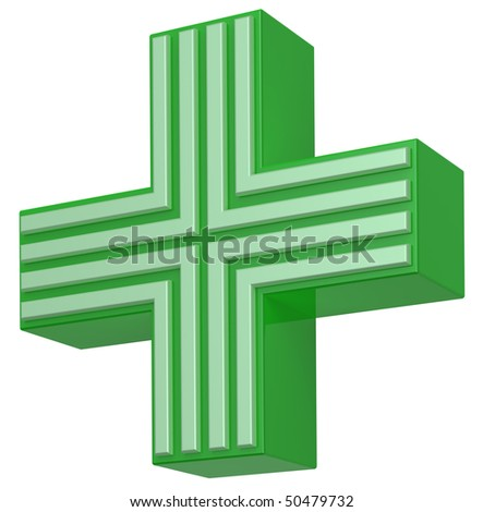 Cross isolated on white. Computer generated 3D photo rendering. - stock photo