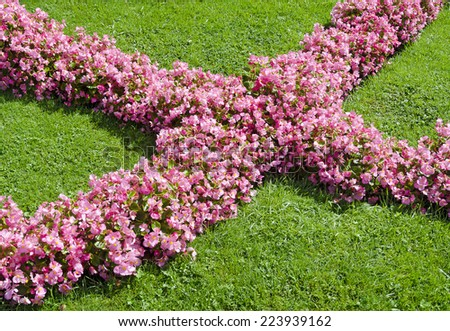 cross made from pink begonias