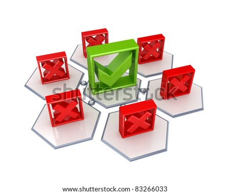 Cross mark and tick mark icons. 3d rendered. Isolated on white background. - stock photo