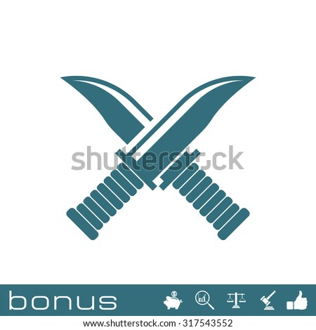 cross military knife icon - stock photo