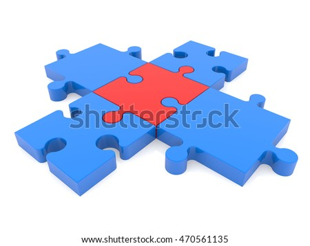 Cross Of Puzzle Pieces In Blue And Red Colors3d Illustration