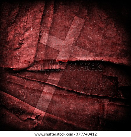 cross on abstract grunge background with scratches and stains - stock photo