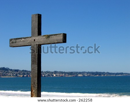cross on beach