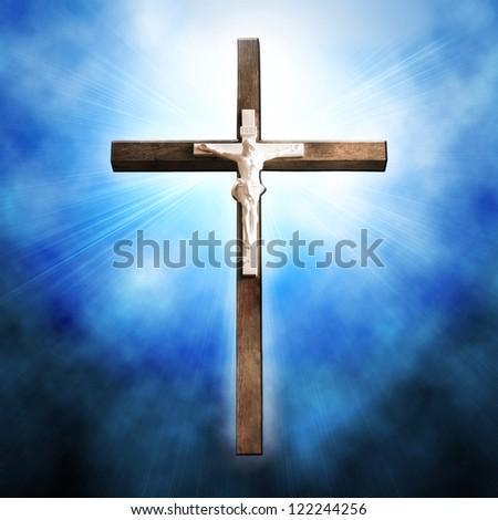 Cross on blue background - stock photo