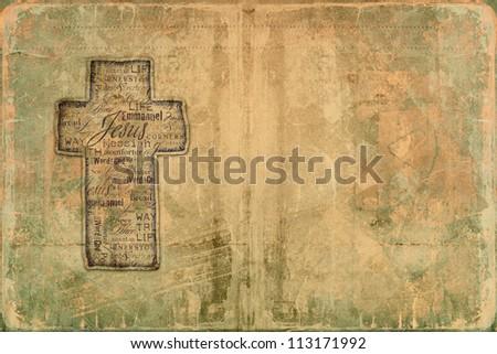 Cross on grunge background. - stock photo