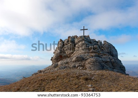 Cross on mountain top