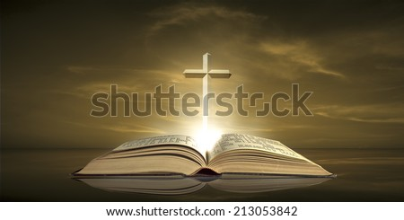 Cross over The Bible - stock photo