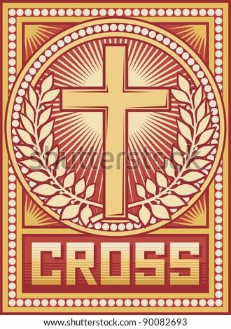 cross poster (illustration of christian cross) - stock photo
