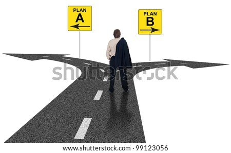 Cross roads with plan A plan B road signs symbol representing business choices and challenges - stock photo